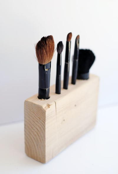 Wood DIY Makeup Brush Holder
