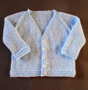 V Neck Knitting Patterns Free : Baby V-Neck Cardigan AllFreeKnitting.com
