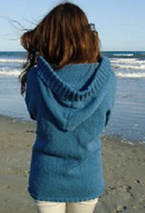 Knitting Pattern Cardigan Hood : Stockinette Stitch Hooded Cardigan