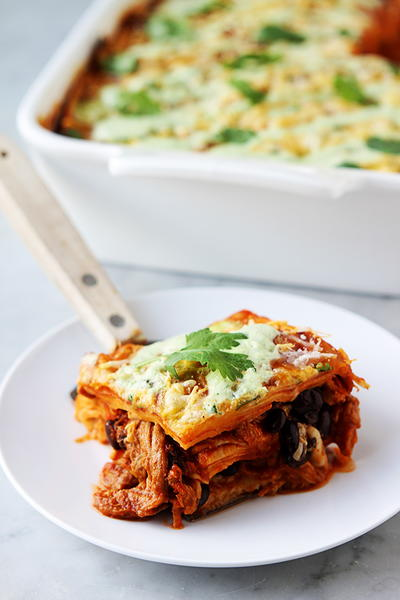 Sweet Pork Enchilada Stacks