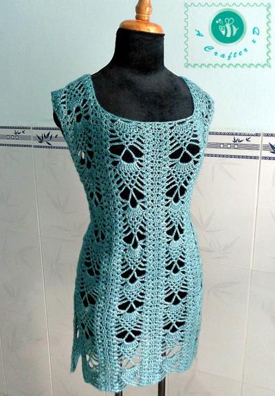 Free Crochet Pattern For Tunic Top : Pineapple Crochet Tunic