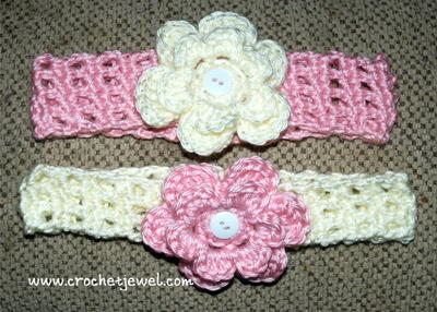Interchangeable Crochet Flower Pattern : Headband with Interchangeable Flower AllFreeCrochet.com