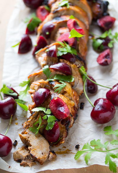 Grilled Chipotle Pork Tenderloin with Fresh Cherry Salsa | RecipeLion ...