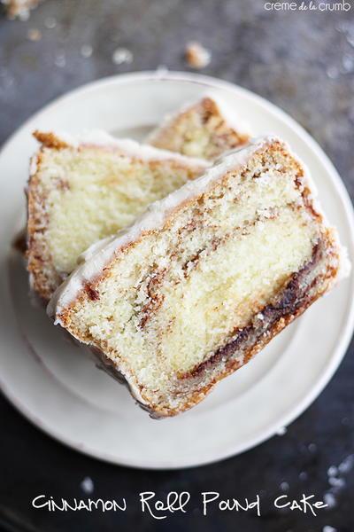 Cinnamon Roll Pound Cake with Vanilla Icing