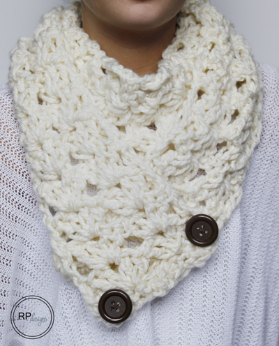Crochet Scarf Pattern With Button : Cozy Button Crochet Scarf AllFreeCrochet.com