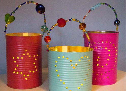 Homemade tin can lanterns for Large tin can crafts