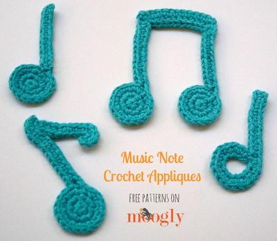Crocheting Music : Music Note Crochet Appliques AllFreeCrochet.com