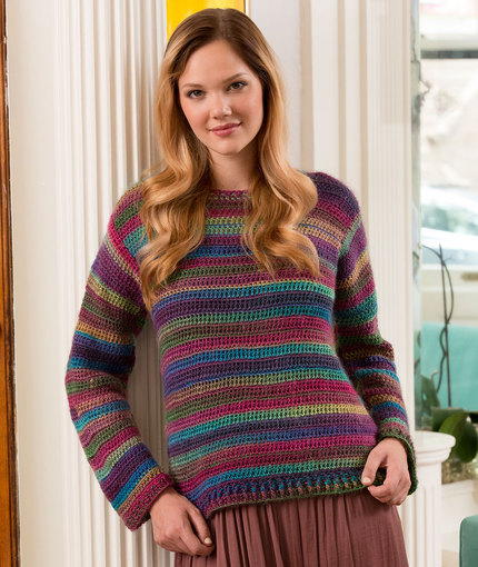 Crochet Patterns Free Jumper : Colors of the Rainbow Crochet Sweater AllFreeCrochet.com