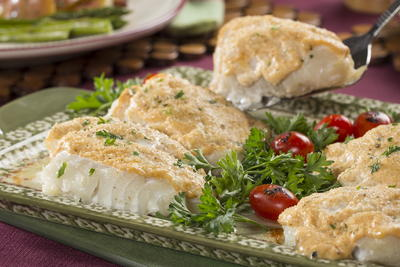 Sour Cream Crowned Fish Fillets