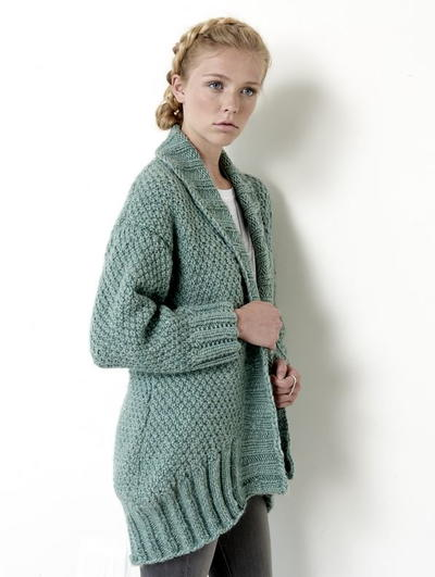Knitting Pattern For Shawl Sweater : Cocoon Cardigan AllFreeKnitting.com