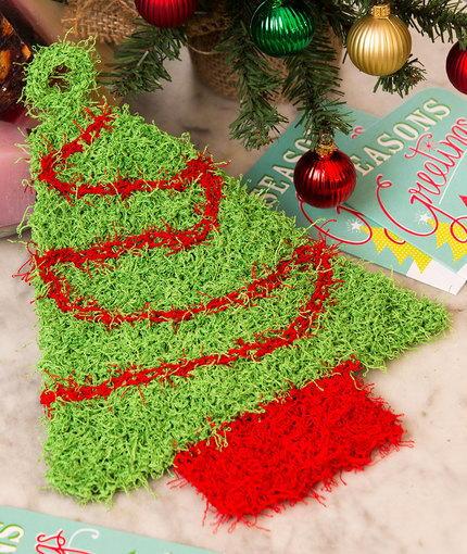 Beanie Hat Knitting Patterns : Christmas Tree Knit Scrubby AllFreeKnitting.com