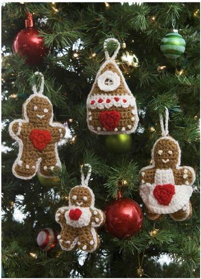 Free Crochet Pattern Christmas Tree Decorations : Gingerbread Crochet Ornaments AllFreeCrochet.com