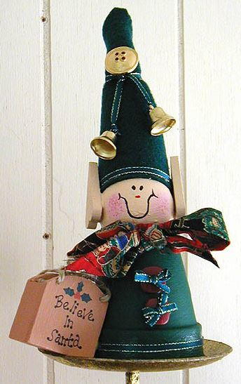 Adorable Wooden and Clay Pot Elf
