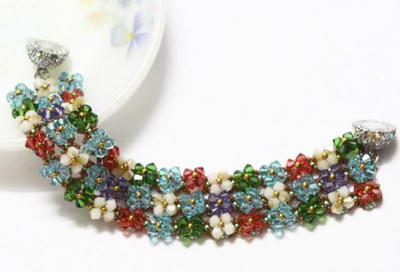 Crystals On Right Angle Weave Bracelet