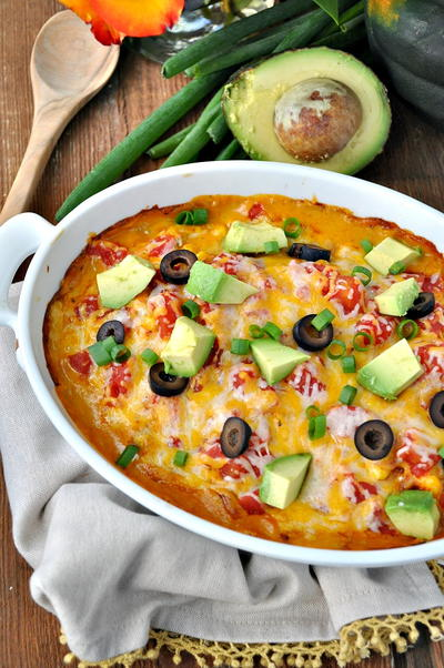 Dump-and-Bake Cheesy Chicken Taco Casserole