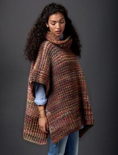 Cozy Tweed Crochet Poncho AllFreeCrochet.com