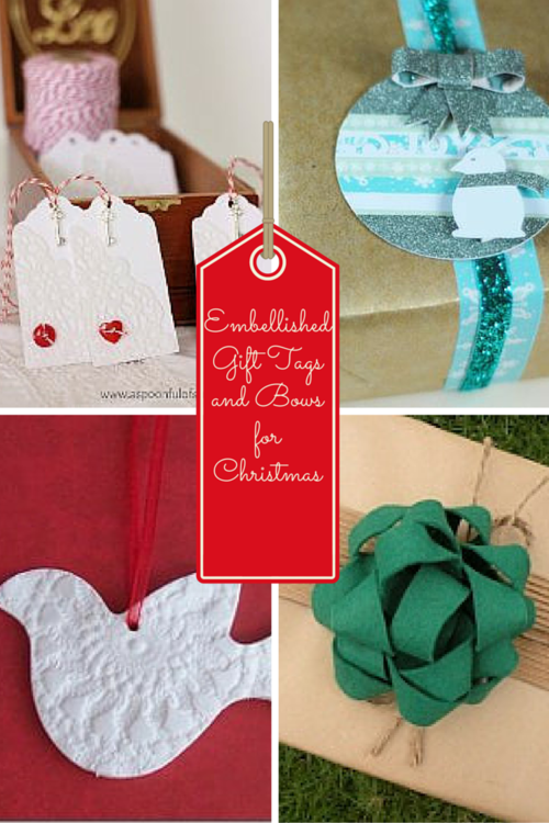 Embellished Gift Tags and Bows For Christmas