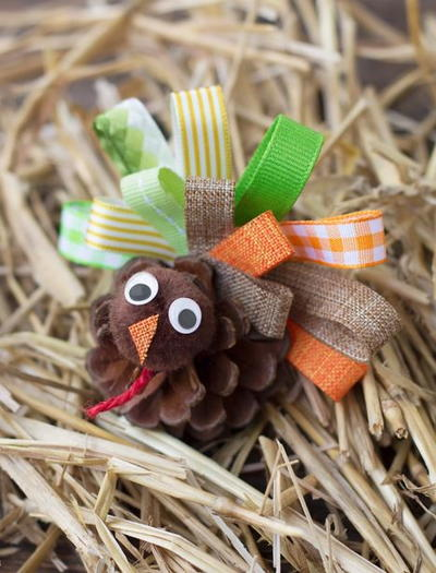Scrap ribbon pine cone turkeys allfreekidscrafts