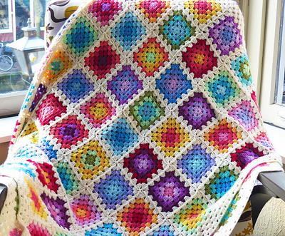 Colorful Rainbow Crochet Afghan