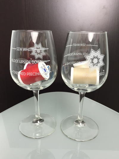 "Quilt Happy ""Sew What"" Wine Glass Gift Set"