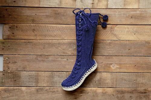 Knitting Pattern For Mukluk Slippers : Knit Muk Luks Slippers AllFreeKnitting.com