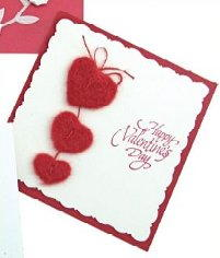Valentine's Day Felted Hearts Card