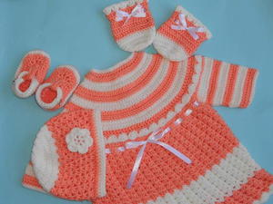 Crochet Baby Dress, Hat, and Mittens