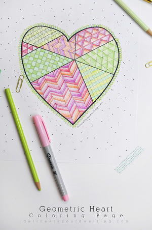 Geometric Heart Coloring Page