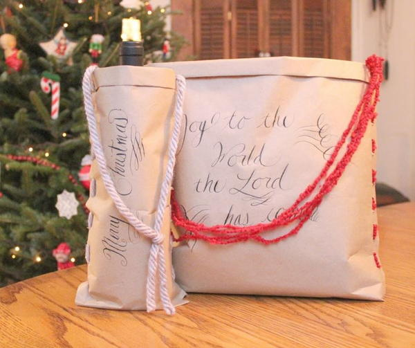 Craft Paper and Yarn DIY Gift Bag