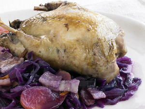 Braised Partridge with Red Cabbage