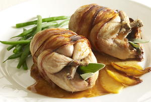 Roast Quail with Apple and Calvados