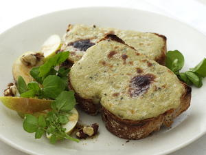 Stilton Rarebit with Pear and Walnuts