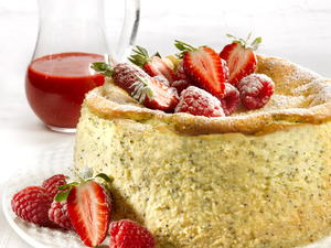 Lemon Poppy Seed Cheesecake with Berry Puree