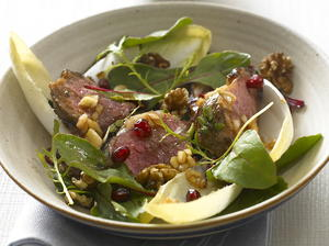 Warm Lamb Salad with Pomegranate and Walnuts