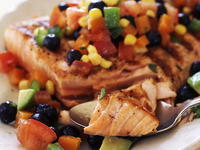 Grilled Salmon with Fresh Blueberry Corn Salsa