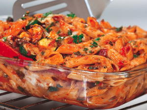 Three-Cheese Baked Penne with Roasted Vegetables