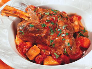 Lamb Shanks Braise with Figs and Root Vegetables