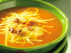 Butternut Apple Soup with Swiss Cheese