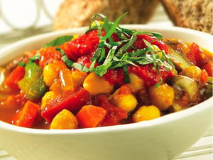 Mushroom and Chickpea Stew with Roasted Red Pepper Coulis