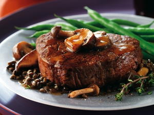 Filet Mignon with Herb-Butter Sauce and Mushrooms