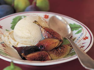 Lavender-Scented French Vanilla Ice Cream with Broiled Fresh Figs