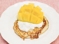 One-Cup Pancakes, Tropical Yogurt and Mango