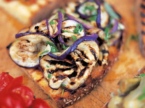 Aubergine and Mint Bruschetta