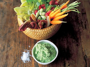Cool Crudité Veggies with a Minted Pea and Yoghurt Dip