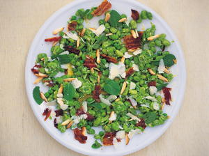 Broad Bean and Crispy Pancetta Salad with a Pea, Pecorino and Mint Dressing