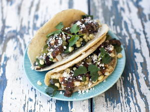 Mushroom, Rajas, and Corn Tacos with Queso Fresco