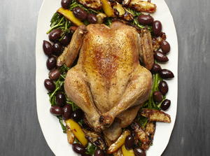 Roast Chicken With Roasted Lemons And Wilted Watercress