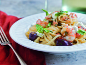 Weeknight Linguine with Spot Prawns and Basil