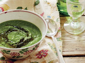 Pea, Pesto, and Arugula Soup