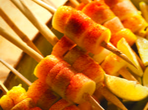 Spicy Jicama, Cucumber and Fruit Skewers